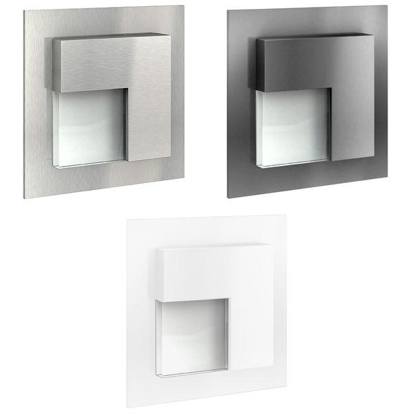 LED-Wandeinbauleuchte TAJO Edelstahl, Graphit oder Weiß Stufenleuchte quadratisch, für 60mm Unterputzdosen, CREE LEDs 1W, 230V IP20 warm weiß – Bild 1