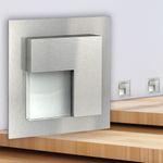 LED-Wandeinbauleuchte TAJO Edelstahl, Graphit oder Weiß Stufenleuchte quadratisch, für 60mm Unterputzdosen, CREE LEDs 1W, 230V IP20 warm weiß 001