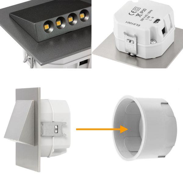 LED-Wandeinbaustrahler NARVA Edelstahl, Graphit oder Weiß Treppenleuchte quadratisch, für 60mm Unterputzdosen, CREE LEDs 1W, 230V IP20 warm weiß – Bild 13