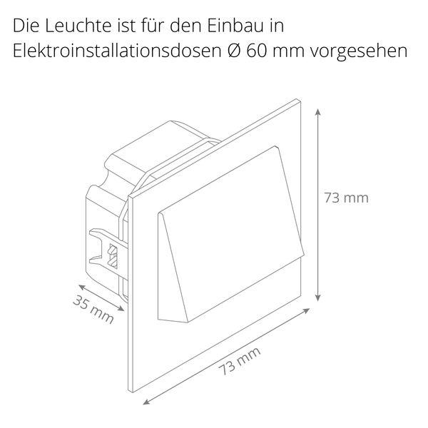 LED-Wandeinbaustrahler NARVA Edelstahl, Graphit oder Weiß Treppenleuchte quadratisch, für 60mm Unterputzdosen, CREE LEDs 1W, 230V IP20 warm weiß – Bild 16