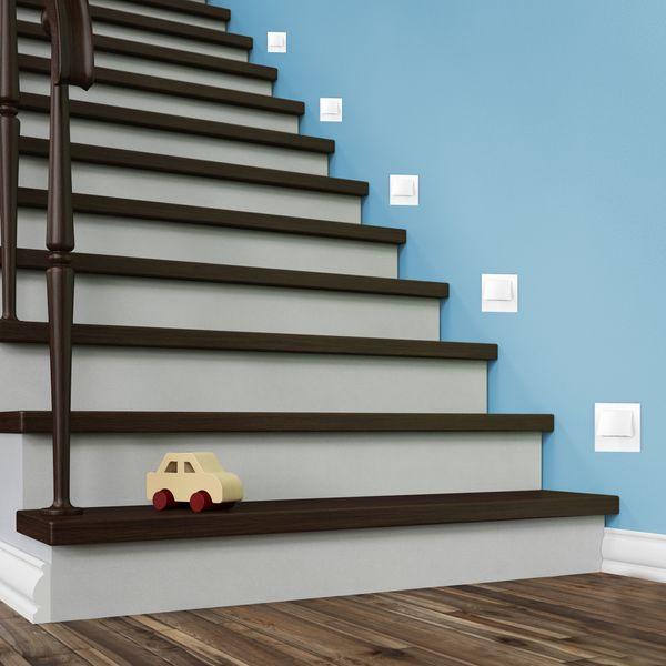 LED-Wandeinbaustrahler NARVA Edelstahl, Graphit oder Weiß Treppenleuchte quadratisch, für 60mm Unterputzdosen, CREE LEDs 1W, 230V IP20 warm weiß – Bild 10