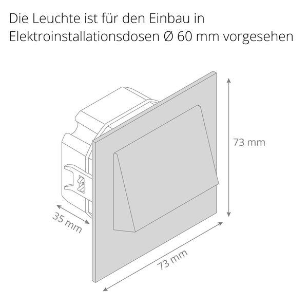 LED-Wandeinbaustrahler NARVA Edelstahl, Graphit oder Weiß Treppenleuchte quadratisch, für 60mm Unterputzdosen, CREE LEDs 1W, 230V IP20 warm weiß – Bild 6
