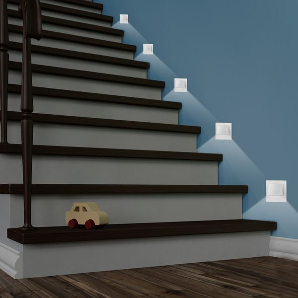LED-Wandeinbaustrahler NARVA Edelstahl, Graphit oder Weiß Treppenleuchte quadratisch, für 60mm Unterputzdosen, CREE LEDs 1W, 230V IP20 warm weiß – Bild 11