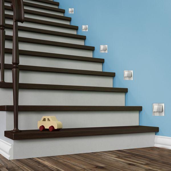 LED-Wandeinbaustrahler NARVA Edelstahl, Graphit oder Weiß Treppenleuchte quadratisch, für 60mm Unterputzdosen, CREE LEDs 1W, 230V IP20 warm weiß – Bild 4