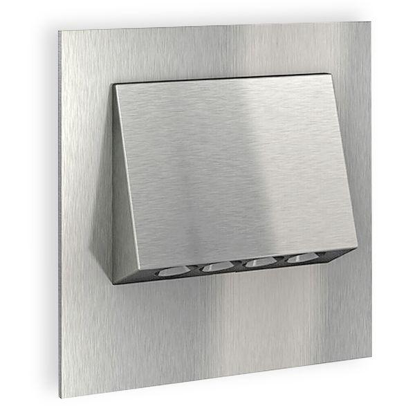 LED-Wandeinbaustrahler NARVA Edelstahl, Graphit oder Weiß Treppenleuchte quadratisch, für 60mm Unterputzdosen, CREE LEDs 1W, 230V IP20 warm weiß Produktausführung: Edelstahl