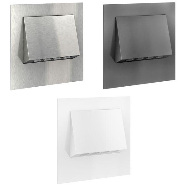 LED-Wandeinbaustrahler NARVA Edelstahl, Graphit oder Weiß Treppenleuchte quadratisch, für 60mm Unterputzdosen, CREE LEDs 1W, 230V IP20 warm weiß