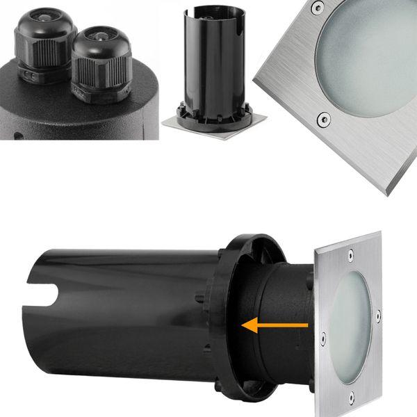 LED-Bodeneinbaustrahler MADON - quadratisch in Edelstahl gebürstet, IP65, 6W warmweiß, GU10 230V – Bild 5