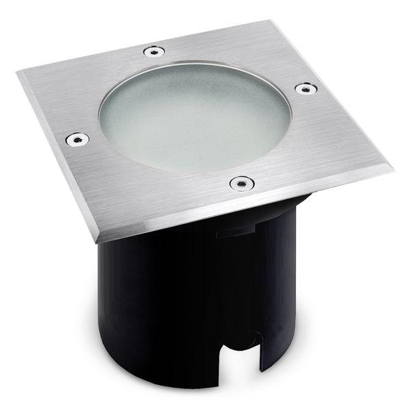 LED-Bodeneinbaustrahler MADON - quadratisch in Edelstahl gebürstet, IP65, 6W warmweiß, GU10 230V – Bild 1