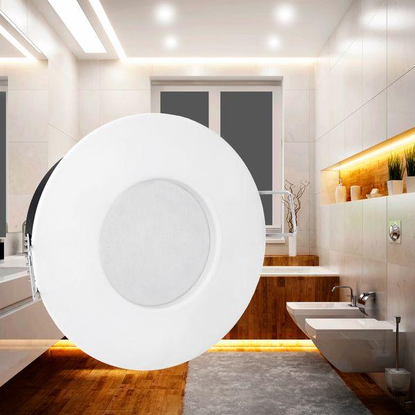 RW-1 LED-Einbaustrahler Bad Feuchtraum Aussenbereich weiß-matt, starr, IP65, LEDON 4,3W LED dimmbar warm weiß GU10 – Bild 2