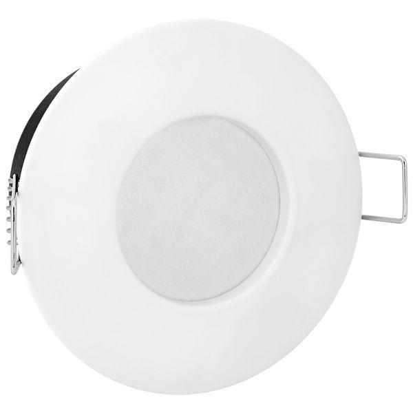 RW-1 LED-Einbaustrahler weiß-matt, Bad Dusche Aussenbereich Feuchtraum, IP65, 6W warmweiß, GU10 – Bild 3