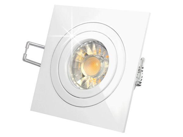 QF-2 LED-Einbauspot Einbauleuchte weiß schwenkbar, 3W SMD LED warm weiss, GU10 230V in Halogenoptik – Bild 2