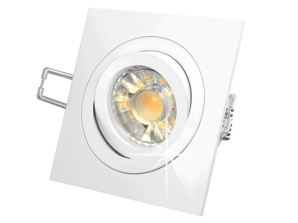 QF-2 LED-Einbauspot Einbauleuchte weiß schwenkbar, 3W SMD LED warm weiss, GU10 230V in Halogenoptik Stückzahl: 1er Set