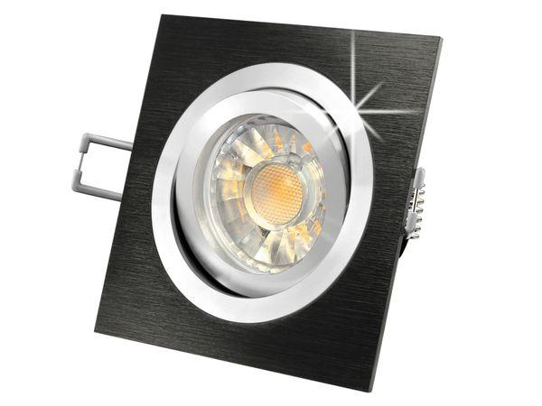 QF-2 LED-Einbauleuchte Spot Alu gebürstet schwarz, 3W SMD warmweiß, GU10 230V in Halogenoptik