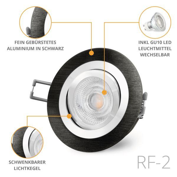 RF-2 LED Einbauspot schwenkbar Alu schwarz rund inkl. 3W LED GU10 warmweiß 230V Stückzahl: 1er Set – Bild 2