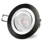 RF-2 LED Einbauspot schwenkbar Alu schwarz rund inkl. 3W LED GU10 warmweiß 230V 001