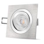 QF-2 LED Einbaustrahler Alu gebürstet eckig schwenkbar inkl. GU10 LED 5W warmweiß 001