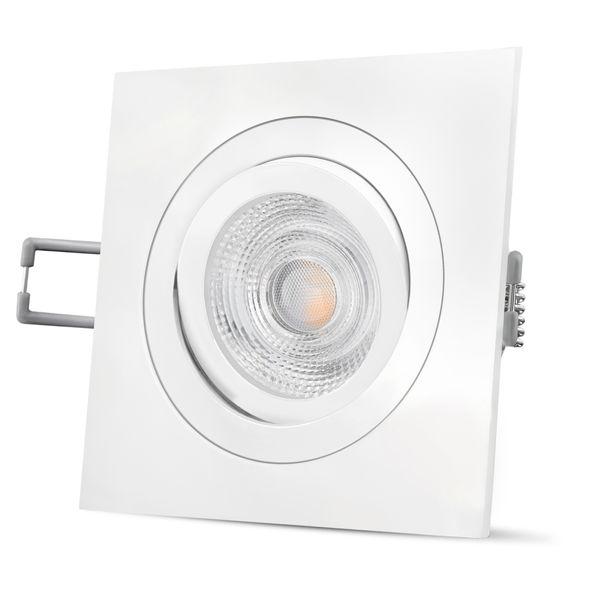 QF-2 LED Einbaustrahler weiß Alu eckig schwenkbar inkl. GU10 LED 5W warmweiß 230V – Bild 1