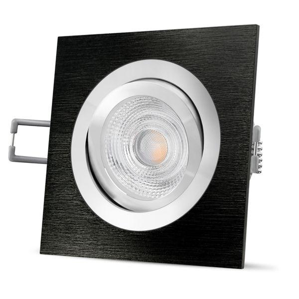 QF-2 LED Einbaustrahler Alu schwarz eckig schwenkbar inkl. GU10 LED 5W warmweiß