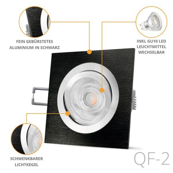 QF-2 LED Einbaustrahler Alu schwarz eckig schwenkbar inkl. GU10 LED 5W warmweiß – Bild 2