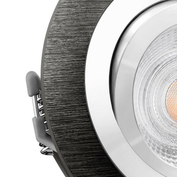 RF-2 LED Einbauleuchte schwenkbar Alu schwarz rund inkl. 5W LED GU10 warmweiß 230V – Bild 5