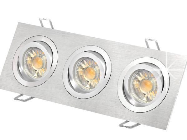 QF-2.3 Alu LED-Einbaustrahler schwenkbar, 3x 5W SMD warmweiß, GU10 230V in schöner Halogenoptik
